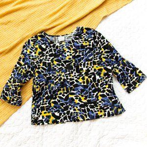 Hot Cotton •Black Blue Pattern Linen Blend Top